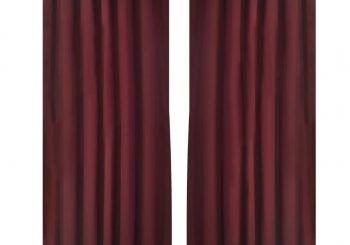 2 kom Bordo Mikro-Satenska Zavjesa s Tregerima 140 x 245 cm