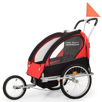 2 u 1 Dječja Prikolica za Bicikl Kolica Crno Crvena