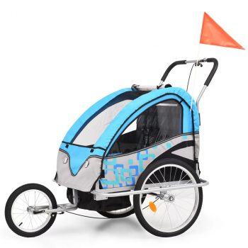 2 u 1 Dječja Prikolica za Bicikl Kolica Plavo Siva