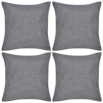 4 Antracit Jastučnice Linen-look 40 x 40 cm