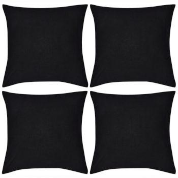 4 Crne Jastučnice Pamuk 40 x 40 cm