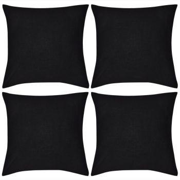 4 Crne Jastučnice Pamuk 50 x 50 cm