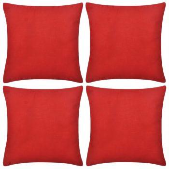 4 Crvene Jastučnice Pamuk 50 x 50 cm