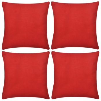 4 Crvene Jastučnice Pamuk 80 x 80 cm