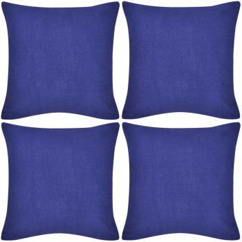 4 Plave Jastučnice Pamuk 80 x 80 cm