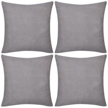 4 Sive Jastučnice Pamuk 40 x 40 cm