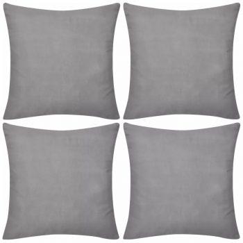 4 Sive Jastučnice Pamuk 50 x 50 cm