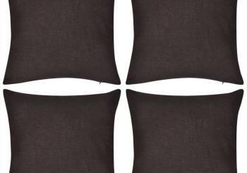 4 Smeđe Jastučnice Pamuk 50 x 50 cm
