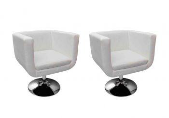 Barske stolice od umjetne kože 2 kom bijele