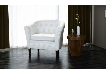Chesterfield fotelja bijela