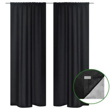 Crne zavjese s dvostrukim slojem za zamračenje s uštedom energije 140 x 245 cm 2 kom