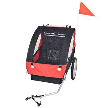 Dječja Prikolica za Bicikl Crveno Crna 30 kg