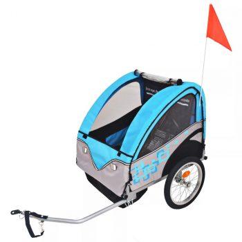 Dječja Prikolica za Bicikl Sivo Plava 30 kg