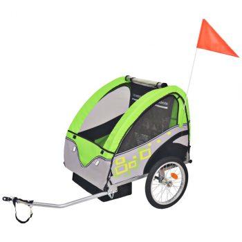 Dječja Prikolica za Bicikl Sivo Zelena 30 kg