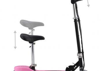 Električni skuter sa sjedalom 120 W ružičasti