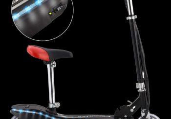 Električni skuter sa sjedalom i LED svjetlima 120 W crni