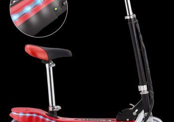 Električni skuter sa sjedalom i LED svjetlima 120 W crveni