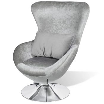 Fotelja egg dizajn srebrna boja