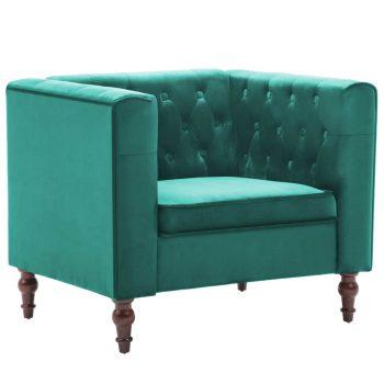 Fotelja od baršuna zelena