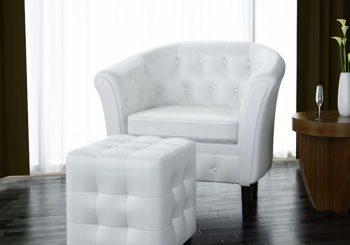Fotelja od umjetne kože s osloncem za noge bijela
