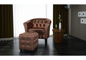 Fotelja od umjetne kože s osloncem za noge smeđa