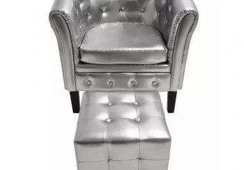 Fotelja od umjetne kože s osloncem za noge srebrna