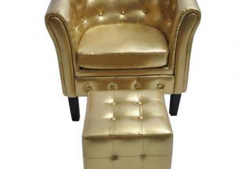 Fotelja od umjetne kože s osloncem za noge zlatna