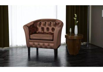 Fotelja od umjetne kože smeđa