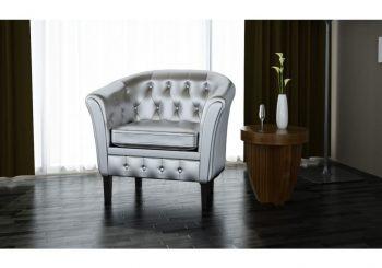 Fotelja od umjetne kože srebrna