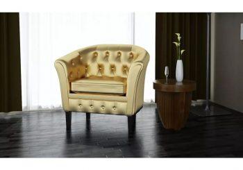 Fotelja od umjetne kože zlatna