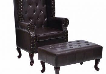 Fotelja s Podnožnikom Umjetna Koža Tamno Smeđa