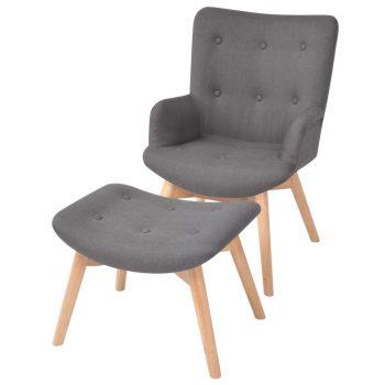 Fotelja s osloncem za noge od tkanine siva