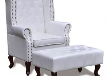 Fotelja stolica sa bijelim otomanom