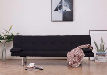 Kauč na razvlačenje od poliestera s 2 jastuka crni