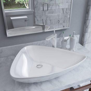 Keramički trokutasti umivaonik bijeli 645 x 455 x 115 mm
