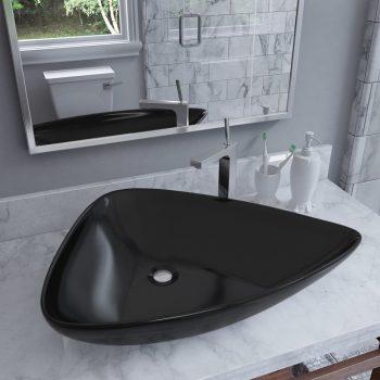 Keramički trokutasti umivaonik crni 645 x 455 x 115 mm