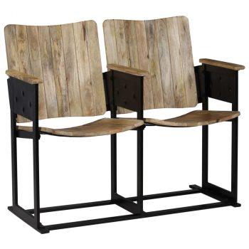 Klupa s 2 sjedala od masivnog drva manga i čelika