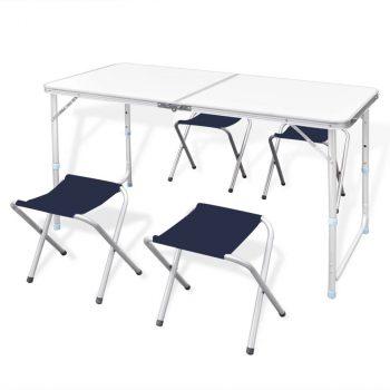 Komplet 4 sklopive stolice za kampiranje prilagodive visine
