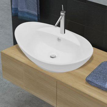 Luksuzni keramički ovalni umivaonik sa zaštitom od prelijevanja i otvorom za slavinu
