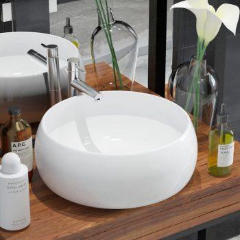 Okrugli umivaonik od keramike bijeli 40 x 15 cm