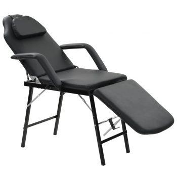 Prenosiva kozmetička stolica od umjetne kože 185 x 78 x 76 cm crna