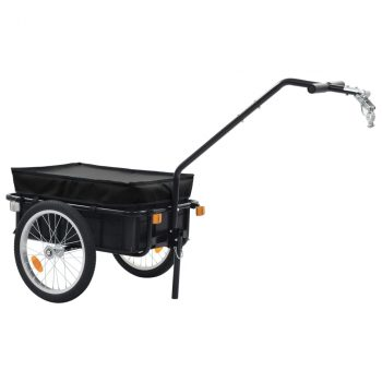 Prikolica za bicikl / ručna kolica 155 x 61 x 83 cm čelična crna