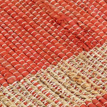 Ručno rađeni tepih od jute crveni 120 x 180 cm