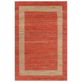 Ručno rađeni tepih od jute crveni 80 x 160 cm