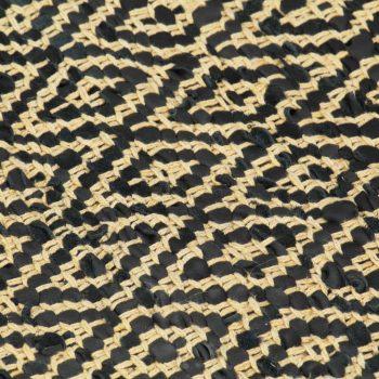 Ručno tkani tepih Chindi od kože i pamuka 120 x 170 cm crni