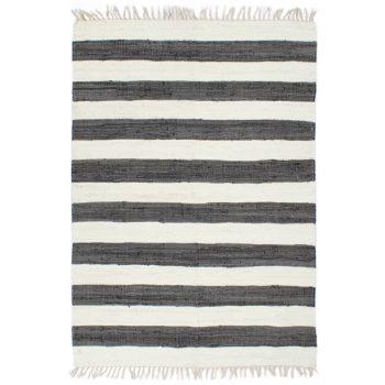 Ručno tkani tepih Chindi od pamuka 80 x 160 cm antracit-bijeli