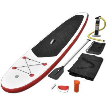 Set daske za veslanje stojeći na napuhavanje crveno-bijeli