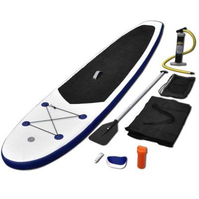 Set daske za veslanje stojeći na napuhavanje plavo-bijeli