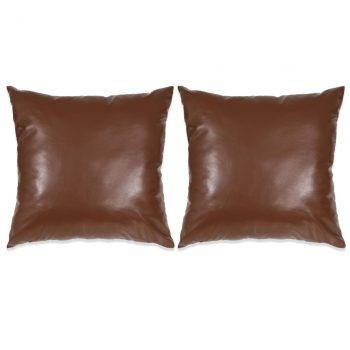 Set jastuka od PU kože 2 kom 45x45 cm smeđi