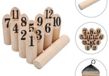 Set za igru brojevima Kubb drveni